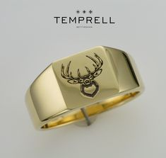 Gents bespoke solid 18ct gold (20 grams) signet ring with laser engraved staggs head #fashion #celebrity #design