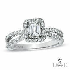 Vera Wang Love Collection 1 CT. T.W. Emerald-Cut Diamond Split Shank Ring in 14K White Gold