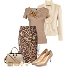 A fashion look from November 2014 featuring short sleeve tops, black jacket and ESCADA. Browse and shop related looks. Work Fashion, Fashion Outfits, Fashion Sets, Printed Skirt Outfit, Leopard Print Skirt, Dressy Outfits, Work Outfits, What To Wear Today, Stylish Eve