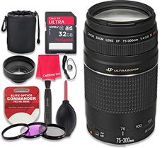 Canon EF 75300mm f456 III USM Lens with 32GB Ultra Pro Speed Class 10 SDHC Memory Card  3pc Filter Kit UVFLDCPL  Deluxe Sleeve  Celltime Microfiber Cleaning Cloth  International Version * Read more reviews of the product by visiting the link on the image. Nikon D3100, Sony A6000, Canon Zoom Lens, Canon Ef, Iphone 6, Rebel, Camera Photos, Prime Lens