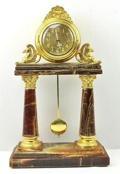 Vintage French Portico Pillar Mantle Clock Brown Marble & Gold Ormulu Quartz