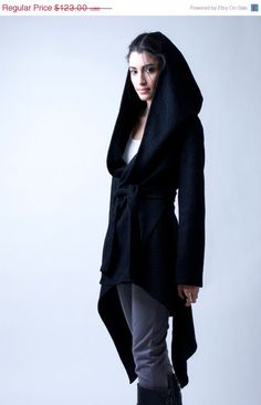 15% SALE Black Coat with a Hood / Asymmetrical Sweater Hoody / Winter Coat / Oversize Designer Coat / Asymmetric Coat / - Model 75 on Etsy, $114.50 CAD