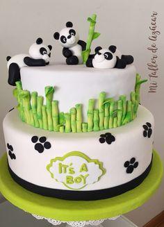 Baby Shower Cakes, Baby Cakes, Fondant Cake Toppers, Fondant Cakes, Cupcake Cakes, Panda Birthday Cake, Bolo Panda, Panda Baby Showers, Panda Cakes
