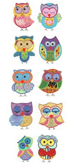 and more embroidered owl appliques! How to choose....they're all so cute!
