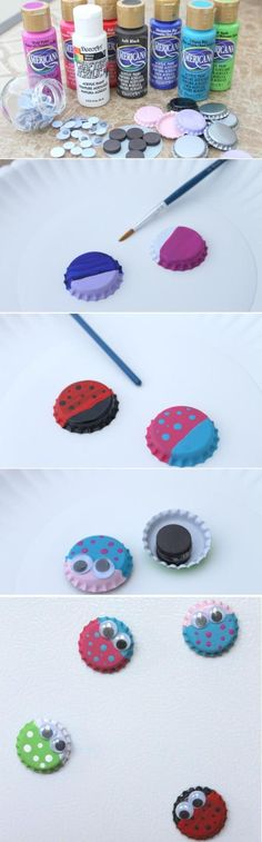 Bug Magnets from Bottle Caps Something cute to make with kids.  use for a metal tic tac toe travel board.