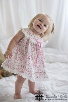 Pajama Party Sweetheart in a Beautiful Liberty of London & Swiss Lace Edging!PJ Sweetness , Made with Liberty of London - Farmhouse Fabrics Online Shop Baby Girl Frocks, Frocks For Girls, Kids Outfits Girls, Little Girl Dresses, Girl Outfits, Fashion Outfits, Baby Frocks Designs, Kids Frocks Design, Liberty Of London