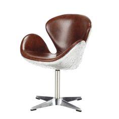 Leather vintage armchair, brown - Harisson Harisson | Maisons du Monde