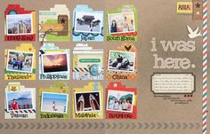 Love this idea of using small file folder fronts to highlight the group of countries in a travel layout.  So cute.