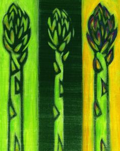Kitchen Art Green Asparagus Vegetable Painting. $18.00, via Etsy.