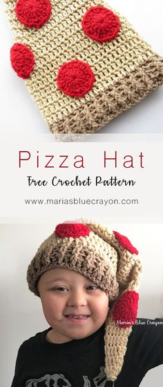 Crochet Pizza Hat | Toddler, Child, Adult Sizes | Free Crochet Pattern | Fun Crochet Hat for Kids | Food Hat | Maria's Blue Crayon
