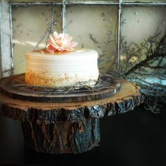 13 inch  Large Rustic Wood Cake Stand