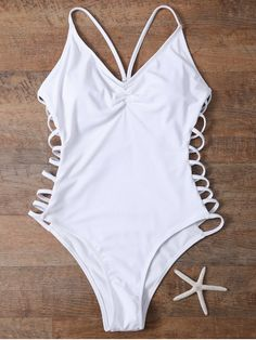 Cutout High Cut One-Piece Swimwear - WHITE M Mobile