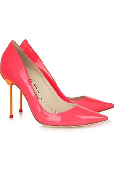Heel measures approximately 100mm/ 4 inches Neon-pink and tangerine patent-leather Slip on Designer color: Fluro PinkSmall to size. See Size & Fit tab.