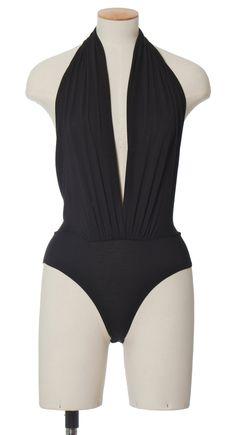 Deep V Black Bodysuit