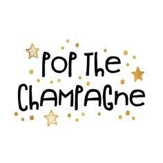 Hippe uitnodiging voor een nieuwjaarsborrel met de tekst 'pop the champagne', gouden sterren en confetti. Deze kaart is verkrijgbaar bij #kaartje2go voor € 1,99