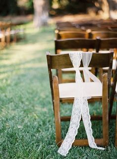 DIY decoration for the ceremony chairs :  wedding Kurtboomerphoto lace used to decorate the aisle chairs. how simple? and so pretty!  Photography by