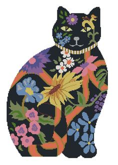 colorful flower cat from board Cat cross stitch tora Beaded Cross Stitch, Counted Cross Stitch Patterns, Cross Stitch Charts, Cross Stitch Designs, Cross Stitch Embroidery, Cross Stitch Pillow, Cat Quilt, Needlepoint Designs, Cross Stitch Animals