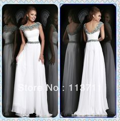 Sophisticated Cap Sleeves Chiffon Long White Rhinestones and Beading Muslim Prom Dresses $95,54