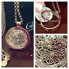 Beautiful medallion -style pendant necklace with interchangeable coin a signature style of Nikki Lissoni available @glambutik.com