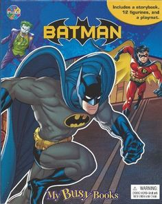 My Busy Books Batman Dark Knight Activity Storybook 12 Figures Playmat NEW by Phidal. $17.99. My Busy Book is an amusing storybook and inventive toy in one activity kit.  Full-page illustrations and an action tale bring these Batman characters to life, as your child's imagination expands with 12 toy figurines and a giant play mat. The board storybook has all your favorite heroes and villains (Batman, Robin, Riddler, Penguin, Two-Face, Joker, Al Ghul, Scarecrow, Catwoman, ...