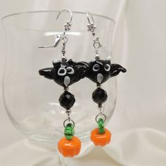 Bat and Pumpkin Halloween Earrings by DesignsbyAlladania on Etsy, $10.00
