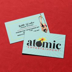 Logo redesign and business cards for Atomic Entertainment. 16pt matte with spot UV gloss. 2014