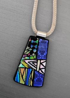 Picasso Pendant Dichroic Glass Necklace Dichroic by GlassCat