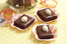 These choc-coconut slices are smothered in rich ganache and topped with a white chocolate egg for an Easter twist. Coconut Milk Chocolate, White Chocolate, Sweet Recipes, Cake Recipes, Yummy Recipes, Recipies, Coconut Slice, Best Edibles, Easter Recipes