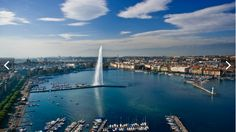 Fantastic view of Geneva and its Water Fountain or Jet d'eau
