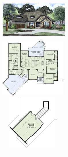 European House Plan 82170 | Total Living Area: 2631 sq. ft., 4 bedrooms and 2.5 bathrooms. #europeanhome