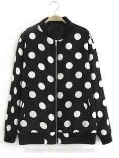 Black Stand Up Collar Long Sleeve Polka Dot Jacket -$39.69
