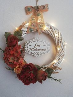 White painted wicker wreath Eid mubarak wooden sign with LED lights/ Eid decoration/Eid wreath/ Eid gifts/eid celebration/boho wreath Eid Mubarak Greetings, Ramadan Gifts, Islamic Gifts, Painted Wicker, Happy Eid, White Wicker, Beautiful Gifts, How To Make Wreaths, White Paints