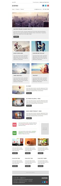 Ispuru : Multipurpose corporate newsletter template with lot of layout options.