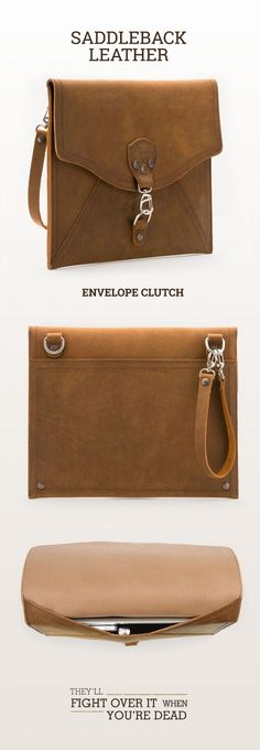The Saddleback Leather Envelope Clutch in Tobacco | 100 Year Warranty | $88.00