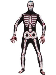 Day of the Dead Bodysuit - Adult Costume front