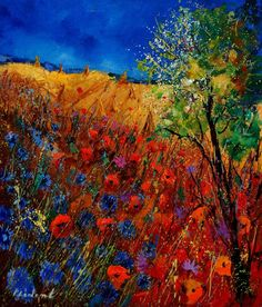 "Saatchi Online Artist: Pol Ledent; Oil, 2013, Painting ""Red poppies and blue cornflowers"""