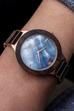 HOLZKERN | The Paradise Collection, Leadwood, and Blue Nacre 36mm Maui Watch. | Click to Shop this at Holzkern. #woodwatches #holzkern | unconventionaljewelry.com
