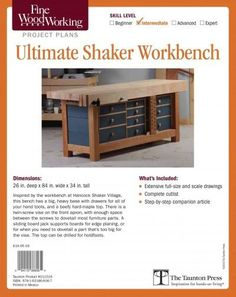 Inspired by the workbench at Hancock Shaker Village, this bench has a big, heavy base with drawers for all of your hand tools, and a beefy hard-maple top. There is a twin-screw vise on the front apron                                                                                                                                                     More