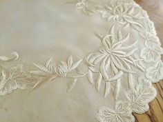 "Antique Victorian Society Silk Victorian Embroidered Doily 17"" Centerpiece"