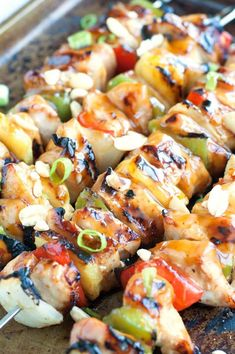Kung Pao Chicken Skewers filled with chicken, peppers, onions and pineapple, coated in Kung Pao sauce - Asian cuisine made simple. Easy Chicken Recipes, Asian Recipes, Healthy Recipes, Ethnic Recipes, Healthy Meals, Healthy Eating, Chinese Recipes, Chinese Food, Delicious Recipes