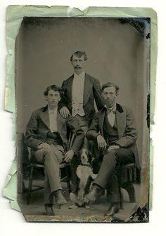 RARE Tintype Civil War Era Three Men with Dog