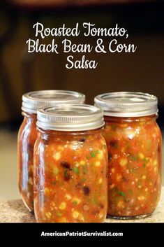 Roasted Tomato, Black Bean and Corn Salsa - Amazing salsa recipe! Roasted Tomato, Black Bean and Corn Salsa: Easy to Can Recipe - Salsa Canning Recipes, Canning Salsa, Canning Tomatoes, Black Bean Salsa Canning Recipe, Canning Tips, Canning Corn, Pressure Canning Recipes, Pressure Cooking, Garden Tomatoes