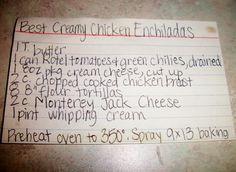 The Recipe Crayon Box: Cream Cheese Chicken Enchiladas