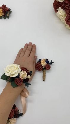 Wedding wrist corsage consists of handmade fabric roses and plenty of leaves. The material used is foam fabric. Flowers look realistic but do not fade. All the flowers and leaves are 100% handmade! I make all the leaves and everything by myself, I DO NOT take ready made artificial flowers and make ready work. It is all made by hands! #rustcorsage #fallweddingflowers #promcorsageandboutonniereset Prom Corsage And Boutonniere, Rose Boutonniere, Corsage Wedding, Wrist Corsage, Wedding Wristlets, Wedding Wishes Quotes, Fall Wedding Flowers, Fabric Roses, Rust Orange
