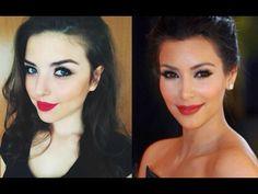 Kim Kardashian Inspired Makeup / Red Lips Tutorial Ft. Mac Ruby Woo - YouTube