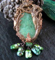 Enchanting NOUVEAU MERMAID GODDESS Brass NECKLACE
