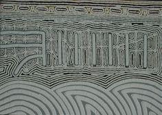 Claude Carter, Limestone Ridge at Goonboorooru Cave, 2013, pure Kimberley ochres on canvas, 140 x 100 cm. For more Aboriginal art visit us at www.mccullochandmcculloch.com.au #aboriginalart #australianart #contemporaryart