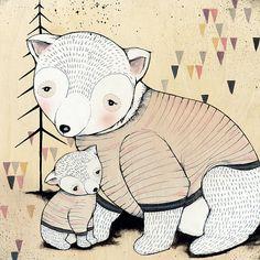 Mamá Oso bebé oso imprime 10 X 10 por KelliMurrayArt en Etsy