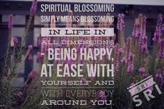 Spiritual blossoming simply means blossoming in life in all dimensions - being happy, at ease with yourself and with everybody around you.