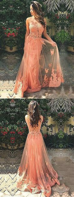 Fashion Long Prom Dresses, A-line Scoop Neck Lace Evening Dresses,Tulle Sweep Train Backless Formal Party Dresses